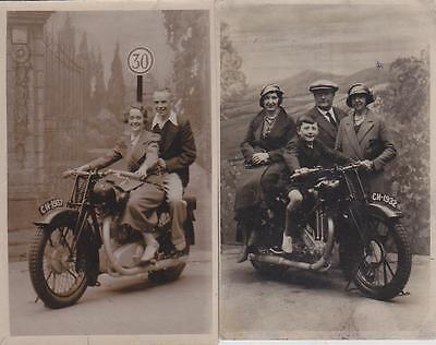 2 Coventry Eagle Motorcycle Real Photo Postcards 1932 & 1937 Blackpool   L26