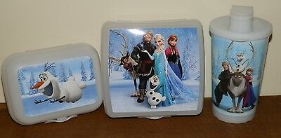 Tupperware DISNEY Frozen LUNCH SET 16 oz. Tumbler SANDWICH KEEPER Olaf