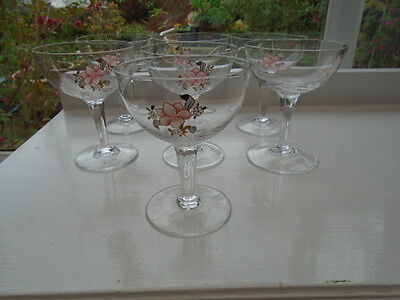 VINTAGE 50's 60's SET OF SIX HAND BLOWN CRYSTAL BLOSSOM CHAMPAGNE SAUCERS