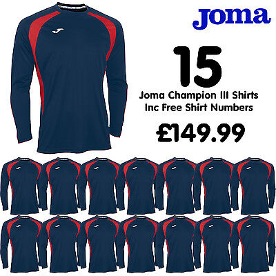 JOMA CHAMPION 3 FOOTBALL SHIRTS, NAVY-RED, FOR TEAM KIT STRIP x 15 Adult S/M/L