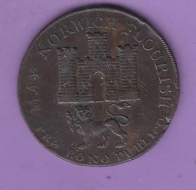 1792 Norwich Bollingbrooks  Halfpenny Conder Token, Usa Interest   L56