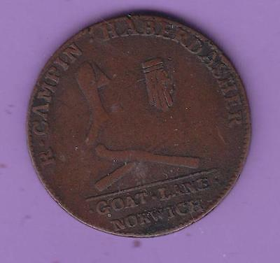 1794 Norwich Goat Lane  Halfpenny Conder Token, Usa Interest   L59