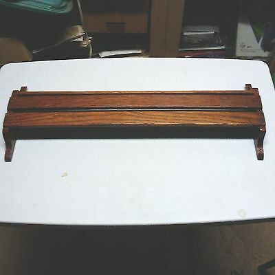 """Antique  24"""" OAK Church Hymnal Bible Pew RACK  Great for Cookbooks or Spices #1"""