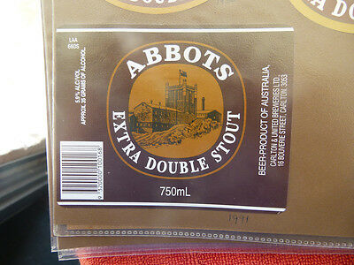 Vintage Aus Beer Label. Carlton & United - Abbots Extra Double Stout 750Ml 66Ds
