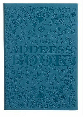 Teal PU Deboss Floral Pattern A5 Address Book With 26 Tabbed Sections