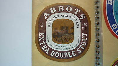 OLD AUSTRALIAN BEER LABEL, CUB BREWERY, ABBOTSFORD EXTRA DOUBLE STOUT 740ml
