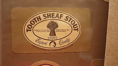 OLD AUSTRALIAN BEER LABEL, TOOTH BREWERY, SYDNEY, SHEAF STOUT 375mL SQUARE
