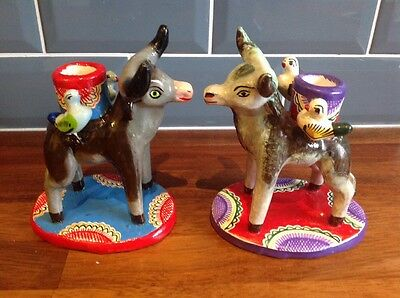 Mexican Folk Art Pottery Candelabras Pair Of Bulls Candle Holders made In Mexico