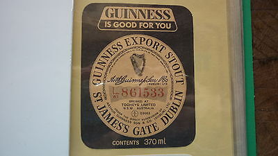 OLD AUSTRALIAN BEER LABEL, TOOHEYS BREWERY SYDNEY, GUINNESS EXTRA STOUT 370ml