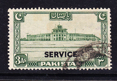 PAKISTAN 1948 SG20 3as green - overprinted service - fine used. Catalogue £10