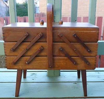 Vintage Wooden Accordion Style Folding Sewing Box - Made In Poland