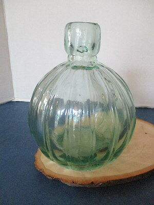 """Antique, Bottle, Blown Into A Mold, Aqua Glass,  7"""" High, 8.5"""" D, Round, Ribbed"""