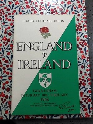 England V Ireland  1968  Twickenham - Very Good Condition