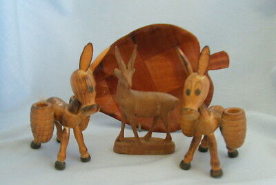 Wooden Deer approx H 10cm + 2 Mallorca Comical Donkeys Ass + Leaf Tray Free P&P