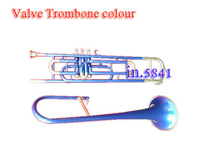 3-Valve-Trombone-Blue-Colored-Bb-Professional-With-Mp-Hard-Case Nice Trumbone