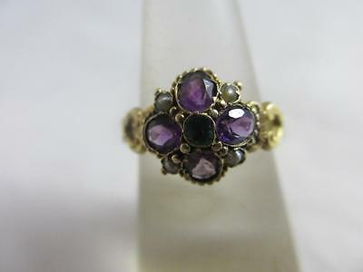 Suffragette amethyst emerald seed pearl 15k gold ring antique Edwardian tbj00759