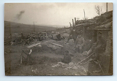 Antique WW1 GERMAN Real Photo RPPC Postcard SOLDIERS During Battle BUNKER CAVES
