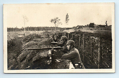 Antique WW1 GERMAN Real Photo RPPC Postcard SOLDIERS & RIFLE in BUNKER TRENCH