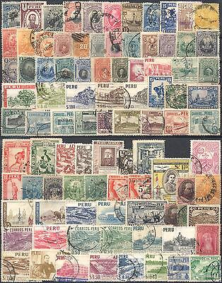 Peru Selection Of 92 Different Old Used Stamps
