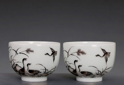 A Pair of Antique Chinese Hand Painting Porcelain Cups Marked QianLong FA064