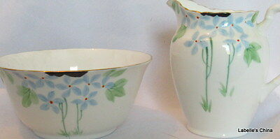 Tuscan Creamer and Large Open Sugar Bowl HPT Beaded Blue Floral Embossed English