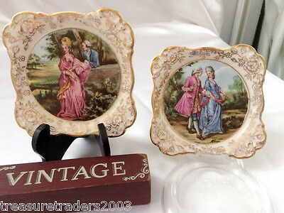 �� 2 x GOLD FLORAL CHINTZ JAMES KENT 'ROMANCE' SMALL WALL PLAQUES