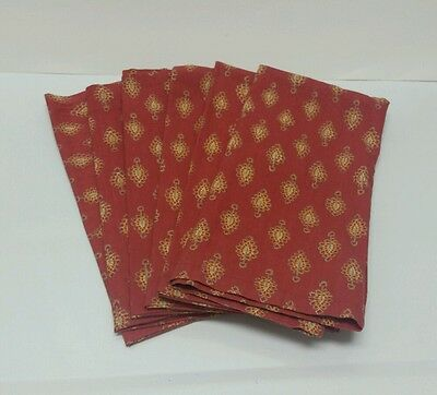 Williams Sonoma Burgundy Red Yellow 7 Cloth Napkins French Country #PR
