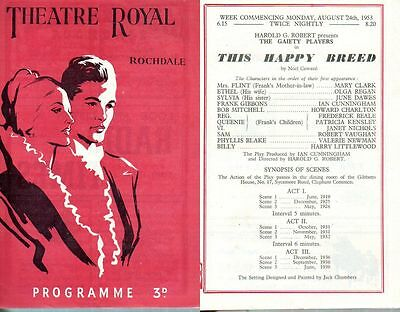 """Theatre Royal Rochdale 1953 """"This Happy Breed"""" Frederick Beale Robert Vaughan"""