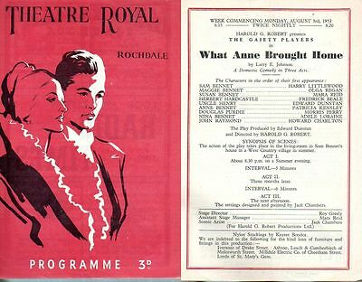 """Theatre Royal Rochdale 1953 """"What Anne brought home"""" Frederick Beale Olga Regan"""