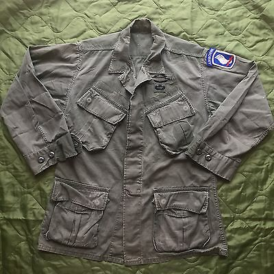 Vietnam 3rd Pattern Tropical Coat Shirt Jacket Jungle US Army 173rd Patches Sml