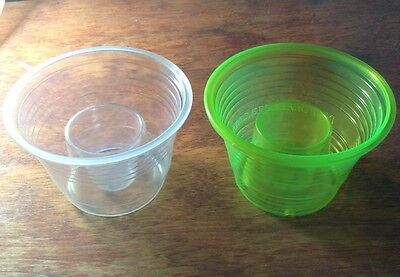 50 Disposable Plastic Bomb Party Shot Cup Great W/ Jager NEW NEON GREEN & CLEAR