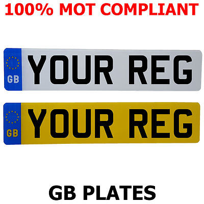 Pair Standard GB Euro Number Pates 100% MOT Compliant - ROAD LEGAL
