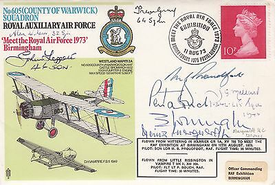 605 Sqn  Signed E Wright  plus 4 Battle of Britain pilots,& Luftwaffe Heinz Marq