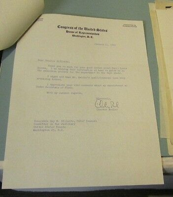 1961 Connecticut Congressman and Governor Chester Bowles Signed Autograph Letter
