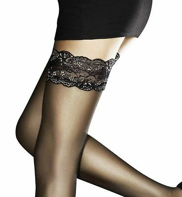 size S BLACK Fiore Obsession Line Stay up Thigh Highs stockings Romina