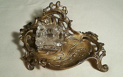 Vintage Victorian Style Ornate Brass Stand & Glass Inkwell Insert