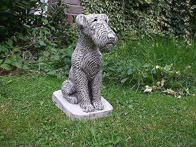 Sitting Airedale Terrier Dogs  Stone  Sculpture Statue