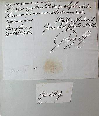GEORGE III (1738-1820) end  letter signed. Queen Charlotte, Nicolas 1 of Russia
