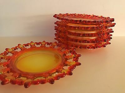 Viking–Yesteryear Classic–Amberina Reticulated Plate–Laced Edge -1969- Set of 6