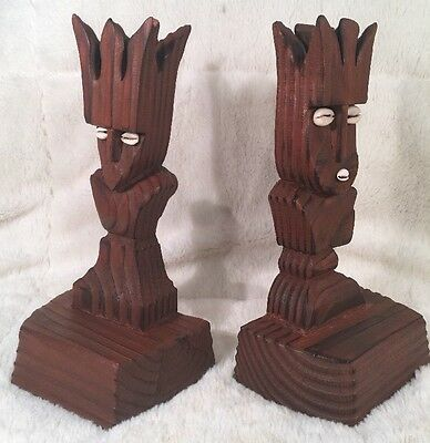 "Pair Of Hand Carved Bahamian Bookends JOHN WEBER NASSAU BAHAMAS 9 3/4"" Tall"