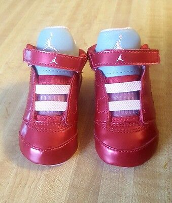 Infants Baby Nike Jordan Retro 5 Crib Shoes Size 2C Red, Pink, and Gray Beanie