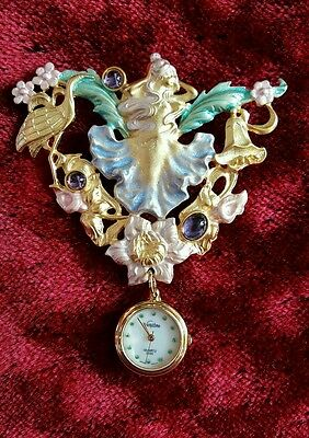 Vendome Pastel Art Nouveau Gold Brooch With Watch *runs Perfectly