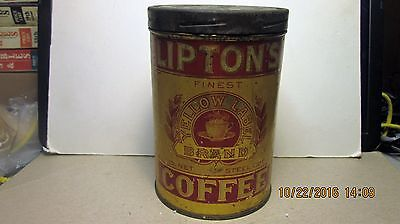 Vintage Lipton offee Tin,  Yellow Label, 1 lb., Steel Cut, With Right Cover