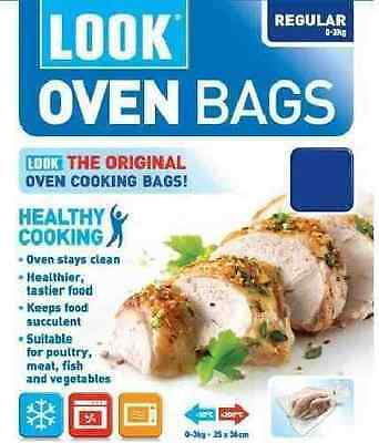 Look Oven Bags Regular size, 0-3kg Cooking Roasting Microwave Freezer Pack of 8
