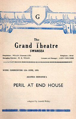 "Agatha Christie ""Peril at End House"" 1961 Grand Theatre Swansea David Beale"