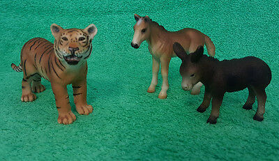 Schleich Burro Baby Foal and Tiger 2001~2002~2003--Retired