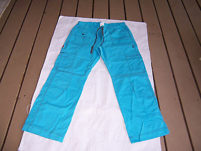 Dickie Scrub Cargo Pants With Many Pockets Ladies M/m/m Solid Blue Color