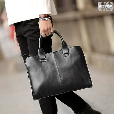 New Men's Leather Briefcase Shoulder Messenger Laptop Handbag Work Business Bag