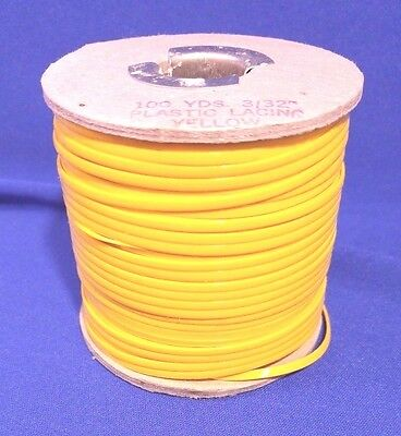 """Vtg YELLOW Plastic Lacing Lace 100 YDS 3/32"""" Western Leather Crafting"""