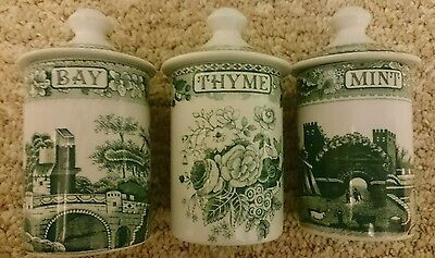 Spode Herb Jars Green and White - Bay, Thyme, Mint